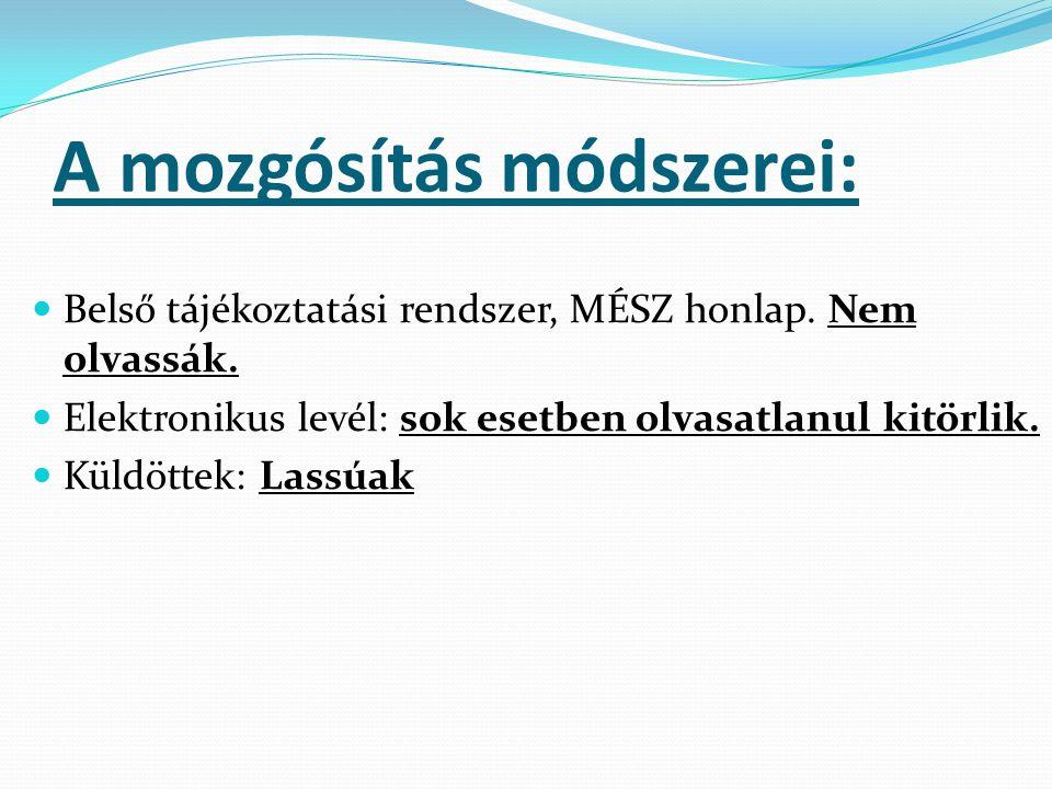 A mozgósítás módszerei: Belső tájékoztatási rendszer, MÉSZ honlap.