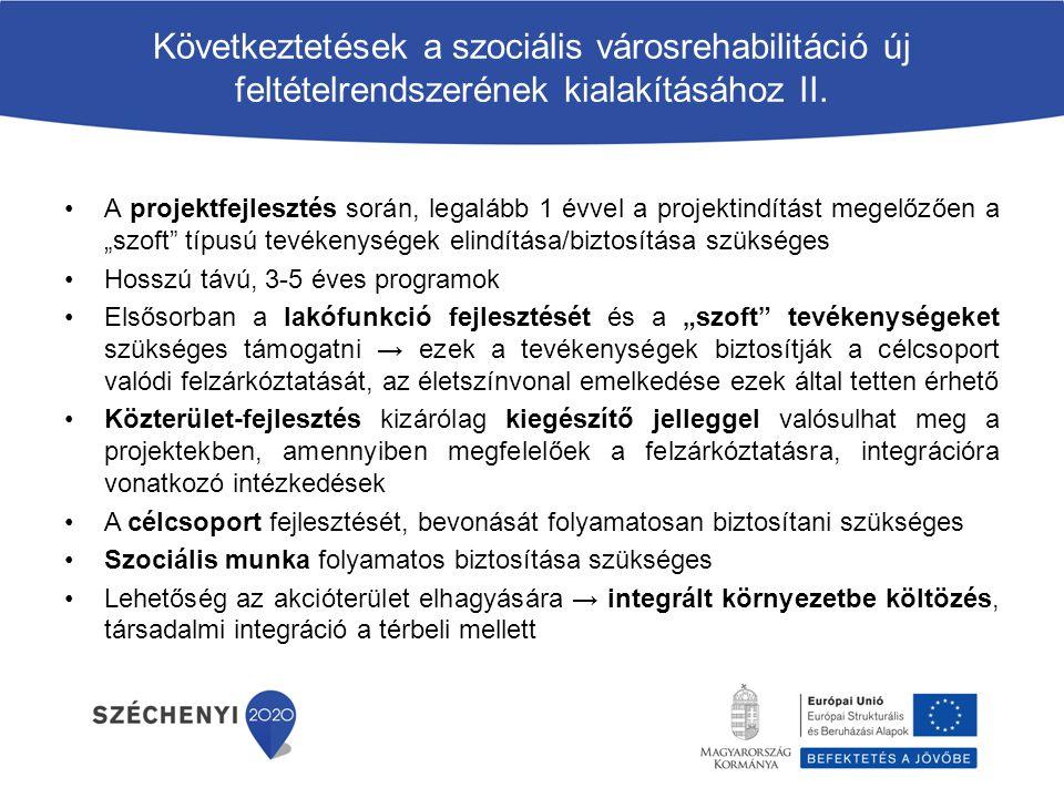 Következtetések a szociális városrehabilitáció új feltételrendszerének kialakításához II. A projektfejlesztés során, legalább 1 évvel a projektindítás