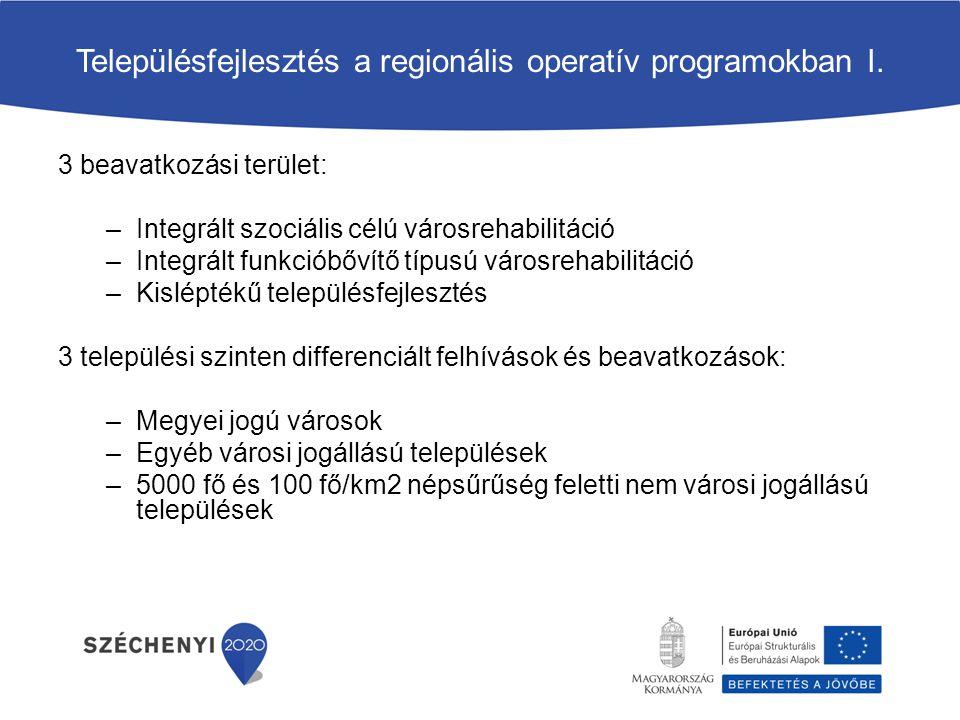 Településfejlesztés a regionális operatív programokban I. 3 beavatkozási terület: –Integrált szociális célú városrehabilitáció –Integrált funkcióbővít