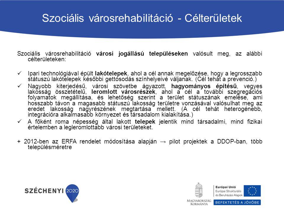 Szociális városrehabilitáció - Célterületek Szociális városrehabilitáció városi jogállású településeken valósult meg, az alábbi célterületeken: Ipari