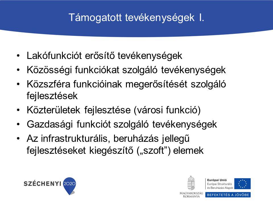 Támogatott tevékenységek I. Lakófunkciót erősítő tevékenységek Közösségi funkciókat szolgáló tevékenységek Közszféra funkcióinak megerősítését szolgál