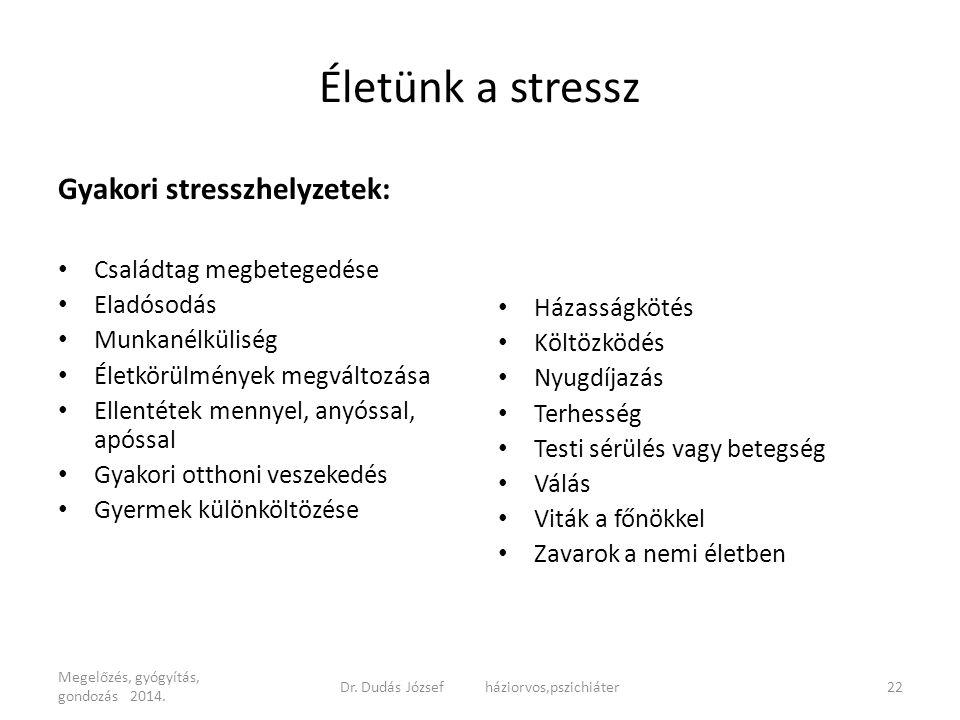 Életünk a stressz Gyakori stresszhelyzetek: Családtag megbetegedése Eladósodás Munkanélküliség Életkörülmények megváltozása Ellentétek mennyel, anyóss