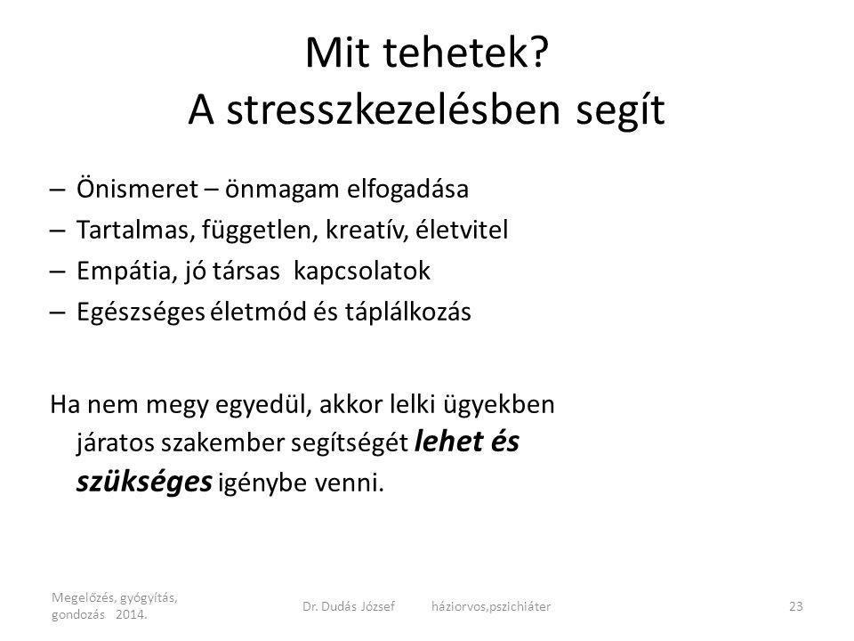 Mit tehetek? A stresszkezelésben segít – Önismeret – önmagam elfogadása – Tartalmas, független, kreatív, életvitel – Empátia, jó társas kapcsolatok –