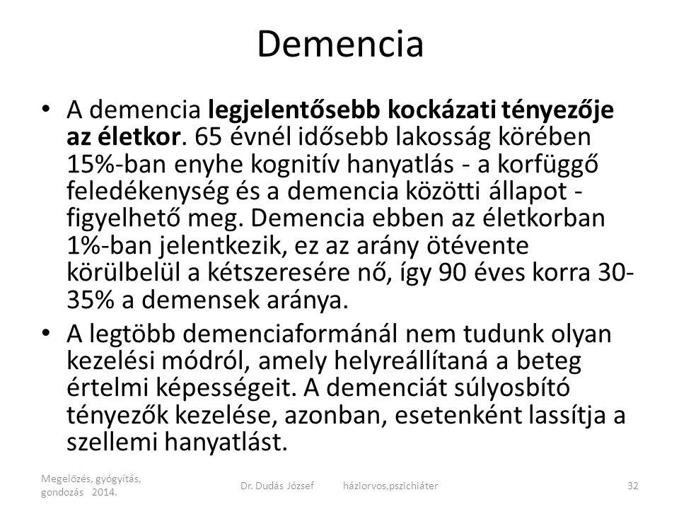 Demencia A demencia legjelentősebb kockázati tényezője az életkor. 65 évnél idősebb lakosság körében 15%-ban enyhe kognitív hanyatlás - a korfüggő fel