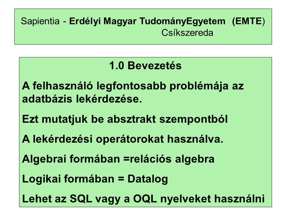 10 Sapientia - Erdélyi Magyar TudományEgyetem (EMTE) Csíkszereda 1.0 Bevezetés A felhasználó legfontosabb problémája az adatbázis lekérdezése.
