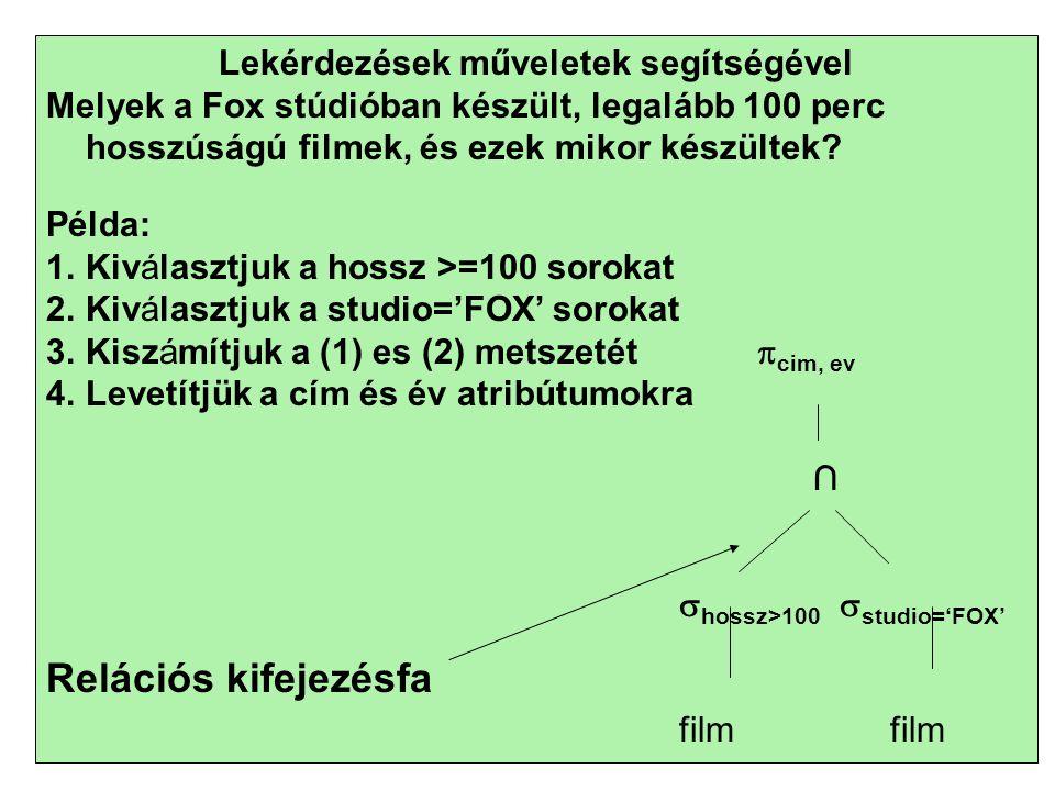 21 Lekérdezések műveletek segítségével Melyek a Fox stúdióban készült, legalább 100 perc hosszúságú filmek, és ezek mikor készültek.