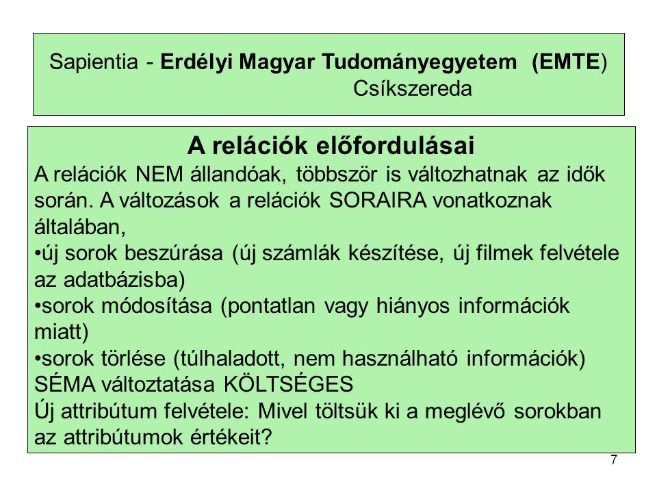 Sapientia - Erdélyi Magyar Tudományegyetem (EMTE) Csíkszereda A relációk előfordulásai A relációk NEM állandóak, többször is változhatnak az idők során.