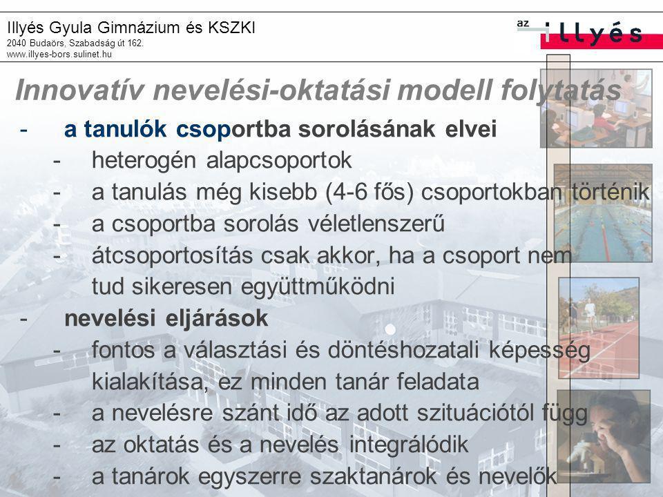 Illyés Gyula Gimnázium és KSZKI 2040 Budaörs, Szabadság út 162. www.illyes-bors.sulinet.hu Innovatív nevelési-oktatási modell folytatás -a tanulók cso