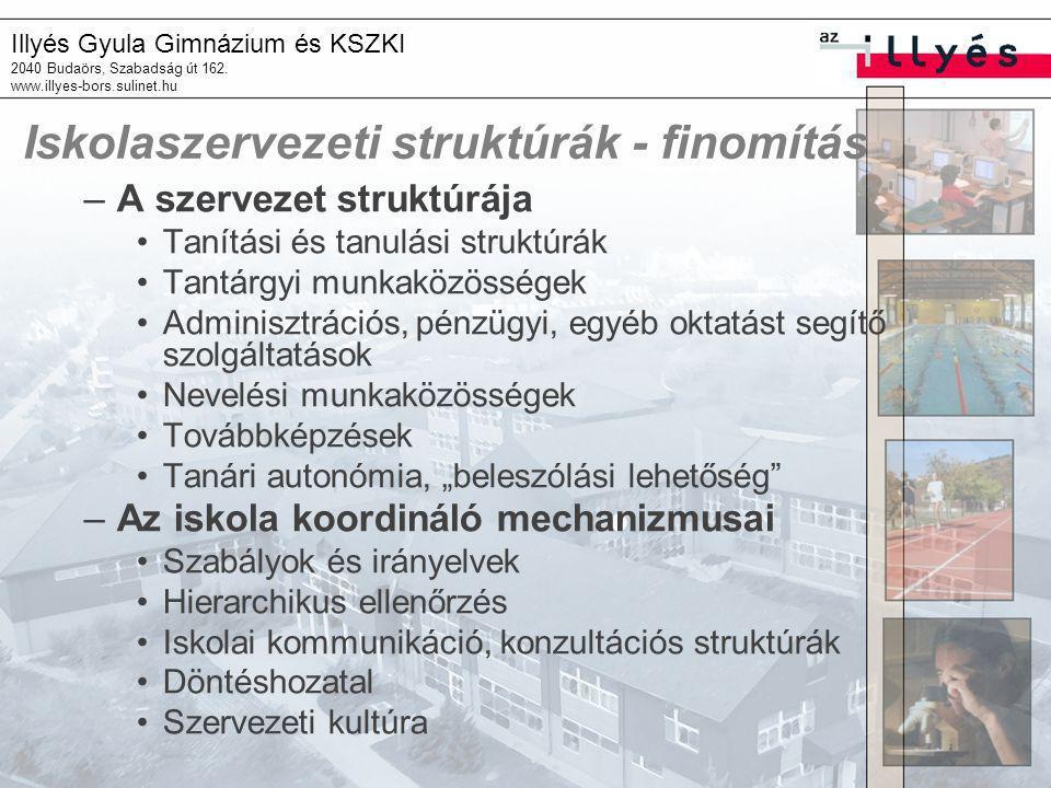 Illyés Gyula Gimnázium és KSZKI 2040 Budaörs, Szabadság út 162. www.illyes-bors.sulinet.hu Iskolaszervezeti struktúrák - finomítás –A szervezet strukt