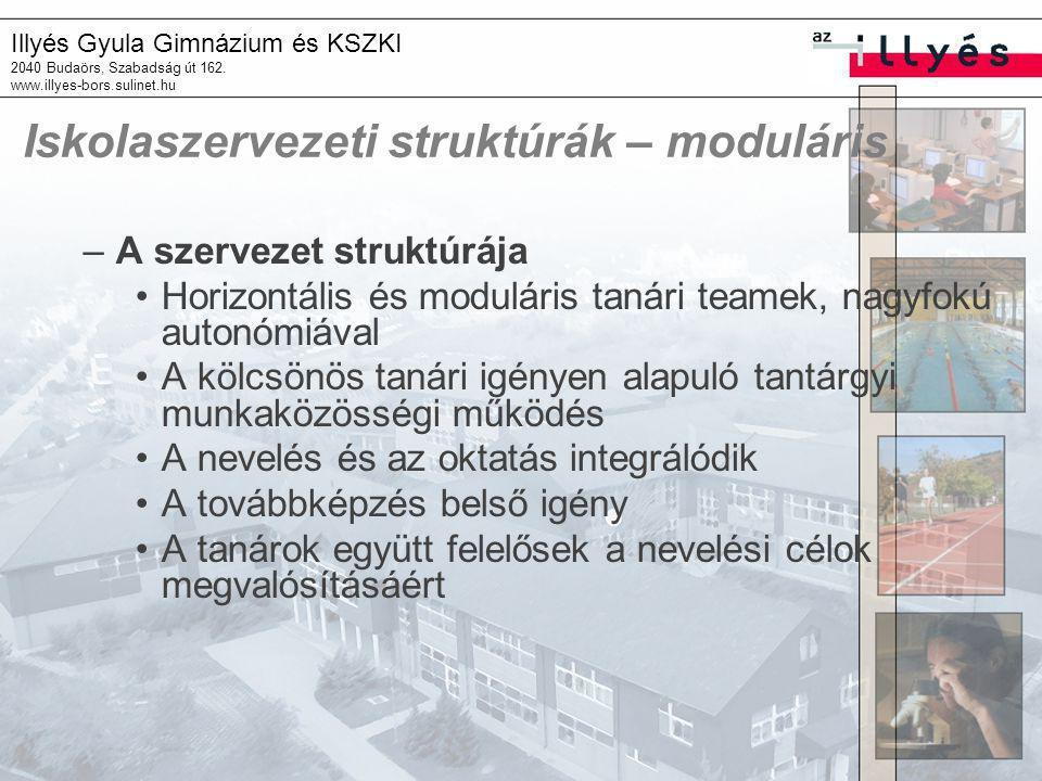 Illyés Gyula Gimnázium és KSZKI 2040 Budaörs, Szabadság út 162. www.illyes-bors.sulinet.hu Iskolaszervezeti struktúrák – moduláris –A szervezet strukt