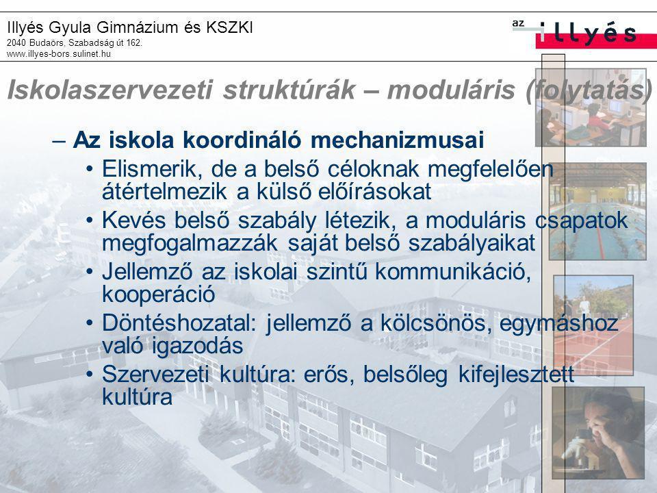 Illyés Gyula Gimnázium és KSZKI 2040 Budaörs, Szabadság út 162. www.illyes-bors.sulinet.hu Iskolaszervezeti struktúrák – moduláris (folytatás) –Az isk