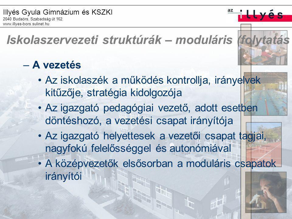Illyés Gyula Gimnázium és KSZKI 2040 Budaörs, Szabadság út 162. www.illyes-bors.sulinet.hu Iskolaszervezeti struktúrák – moduláris (folytatás –A vezet