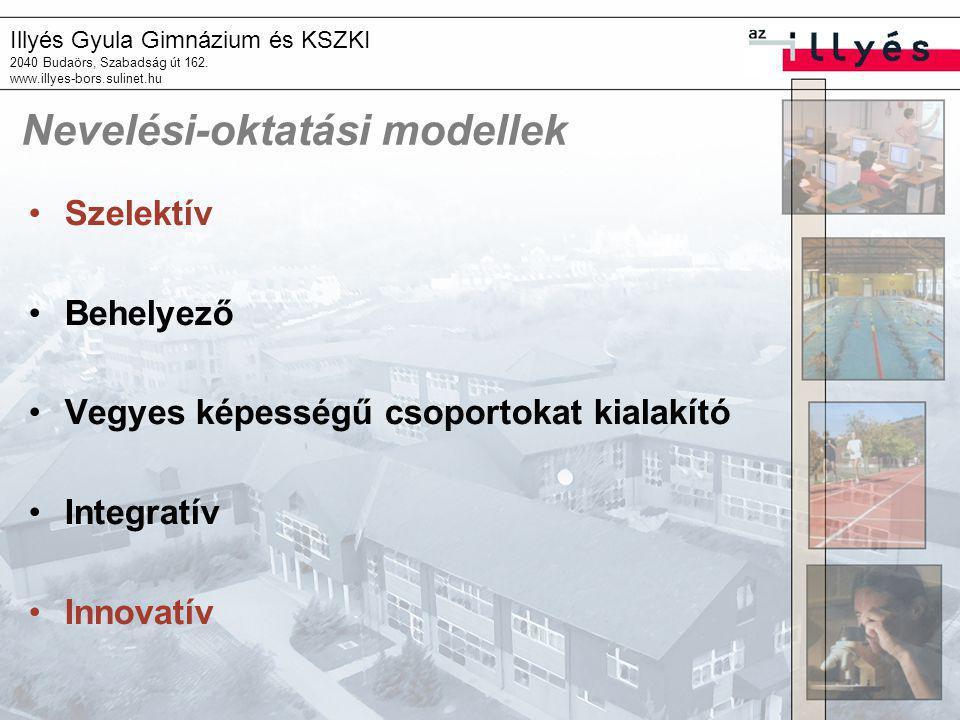 Illyés Gyula Gimnázium és KSZKI 2040 Budaörs, Szabadság út 162. www.illyes-bors.sulinet.hu Nevelési-oktatási modellek Szelektív Behelyező Vegyes képes