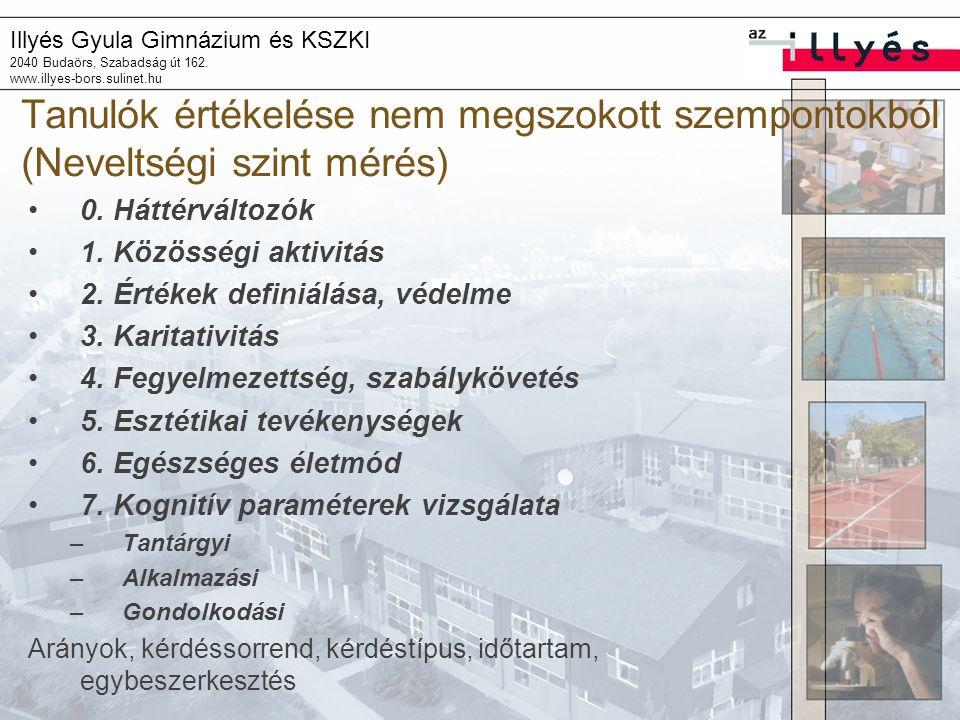 Illyés Gyula Gimnázium és KSZKI 2040 Budaörs, Szabadság út 162. www.illyes-bors.sulinet.hu Tanulók értékelése nem megszokott szempontokból (Neveltségi