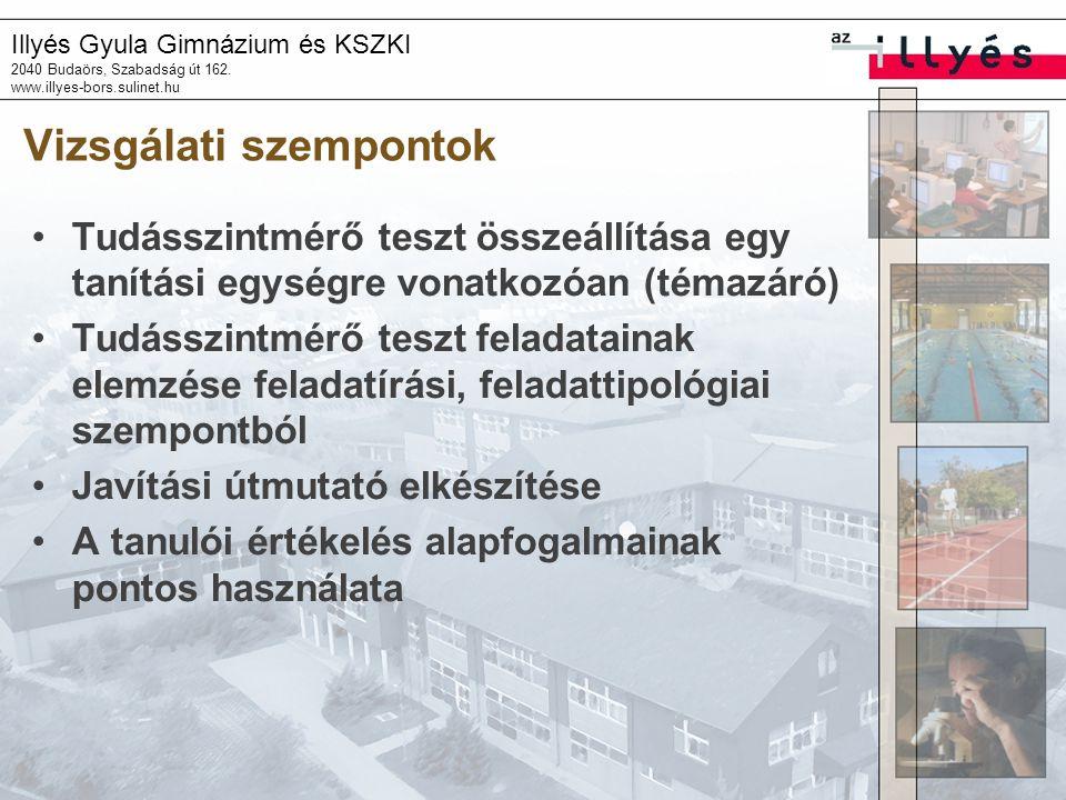 Illyés Gyula Gimnázium és KSZKI 2040 Budaörs, Szabadság út 162. www.illyes-bors.sulinet.hu Vizsgálati szempontok Tudásszintmérő teszt összeállítása eg