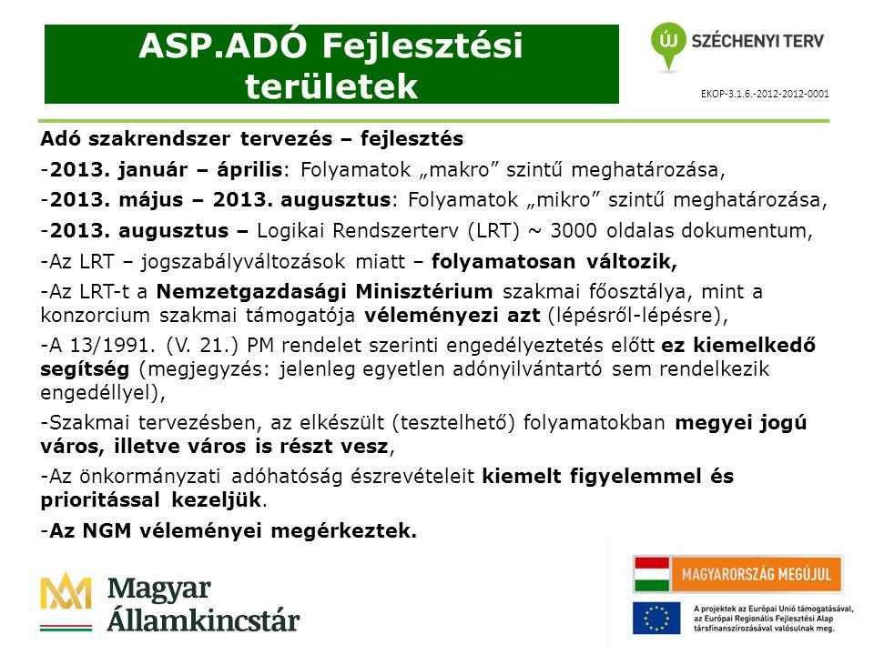 """EKOP-3.1.6.-2012-2012-0001 ASP.ADÓ Fejlesztési területek Adó szakrendszer tervezés – fejlesztés -A Magyar Államkincstár Államháztartási Irodáinak önkormányzati adókkal foglalkozó – azokat összesítő - kormánytisztviselői által készített folyamatokat NGM-es szakértő véleményezi (Nagy Imre – szakértő, minőségbiztosító), -A folyamatok """"ügyviteli ábráit a Kincsinfo nKft."""