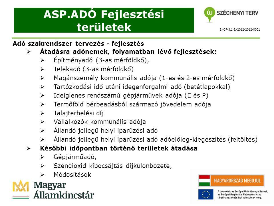 EKOP-3.1.6.-2012-2012-0001 ASP.ADÓ Fejlesztési területek Adó szakrendszer tervezés - fejlesztés  Átadásra adónemek, folyamatban lévő fejlesztések:  Építményadó (3-as mérföldkő),  Telekadó (3-as mérföldkő)  Magánszemély kommunális adója (1-es és 2-es mérföldkő)  Tartózkodási idő utáni idegenforgalmi adó (betétlapokkal)  Ideiglenes rendszámú gépjárművek adója (E és P)  Termőföld bérbeadásból származó jövedelem adója  Talajterhelési díj  Vállalkozók kommunális adója  Állandó jellegű helyi iparűzési adó  Állandó jellegű helyi iparűzési adó adóelőleg-kiegészítés (feltöltés)  Későbbi időpontban történő területek átadása  Gépjárműadó,  Széndioxid-kibocsájtás díjkülönbözete,  Módosítások
