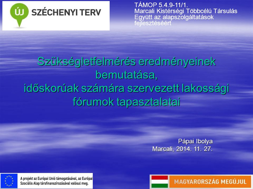 Szükségletfelmérés eredményeinek bemutatása, időskorúak számára szervezett lakossági fórumok tapasztalatai Pápai Ibolya Marcali, 2014. 11. 27. TÁMOP 5
