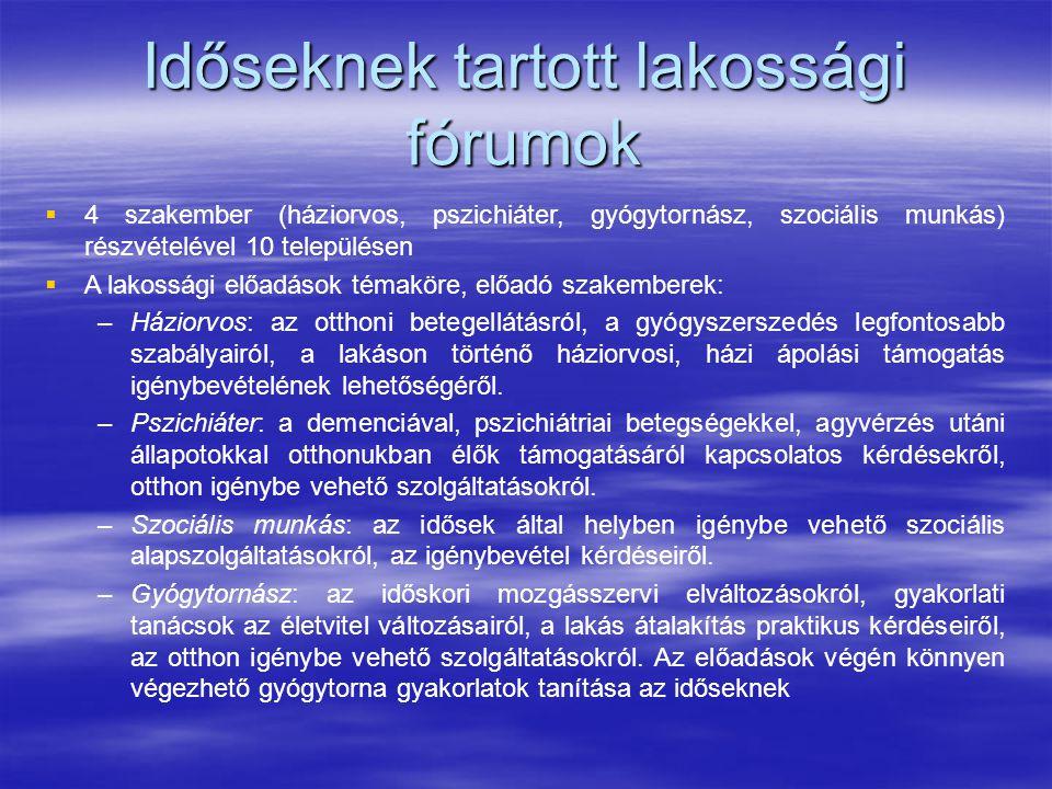Időseknek tartott lakossági fórumok   4 szakember (háziorvos, pszichiáter, gyógytornász, szociális munkás) részvételével 10 településen   A lakoss
