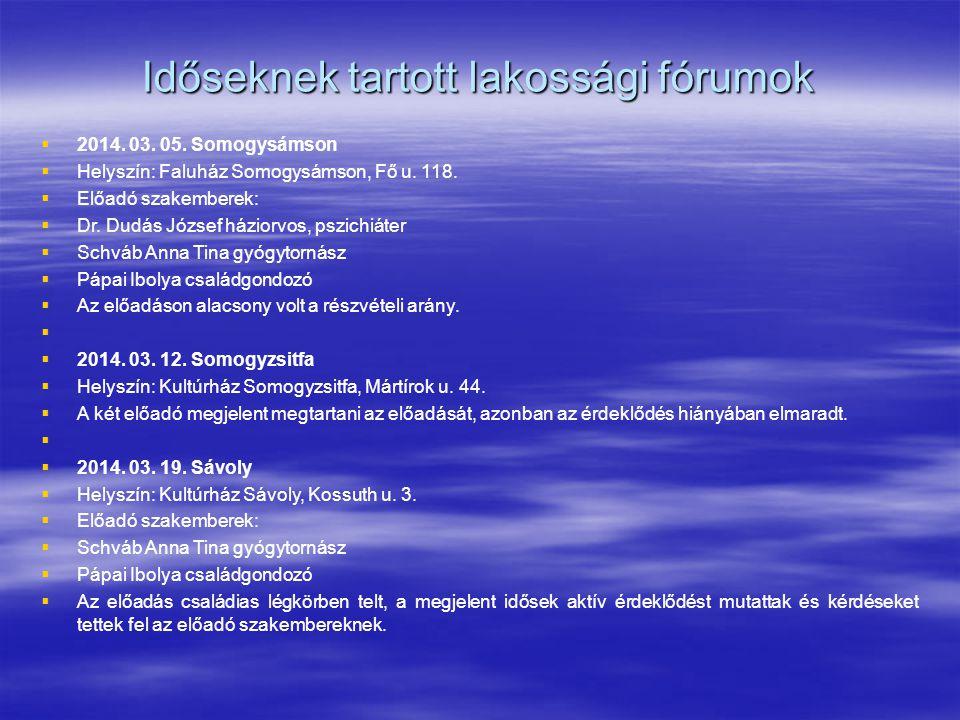Időseknek tartott lakossági fórumok   2014. 03. 05. Somogysámson   Helyszín: Faluház Somogysámson, Fő u. 118.   Előadó szakemberek:   Dr. Dudá