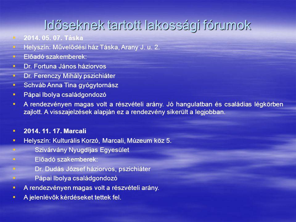 Időseknek tartott lakossági fórumok   2014. 05. 07. Táska   Helyszín: Művelődési ház Táska, Arany J. u. 2.   Előadó szakemberek:   Dr. Fortuna