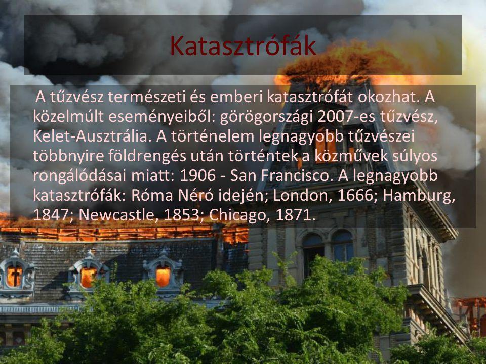 Katasztrófák A tűzvész természeti és emberi katasztrófát okozhat. A közelmúlt eseményeiből: görögországi 2007-es tűzvész, Kelet-Ausztrália. A történel