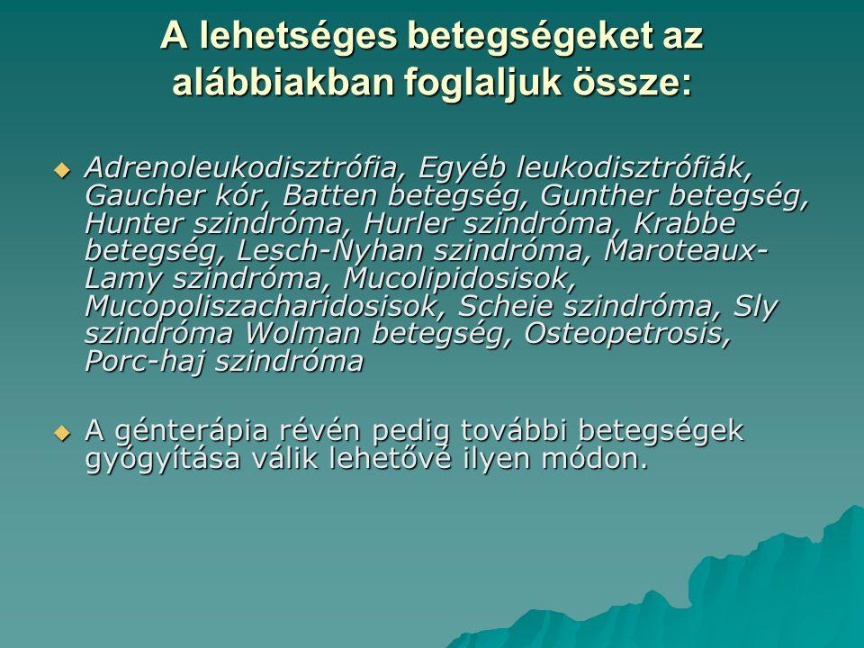 A lehetséges betegségeket az alábbiakban foglaljuk össze:  Adrenoleukodisztrófia, Egyéb leukodisztrófiák, Gaucher kór, Batten betegség, Gunther beteg