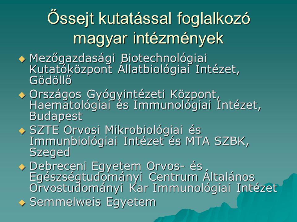 Őssejt kutatással foglalkozó magyar intézmények  Mezőgazdasági Biotechnológiai Kutatóközpont Állatbiológiai Intézet, Gödöllő  Országos Gyógyintézeti