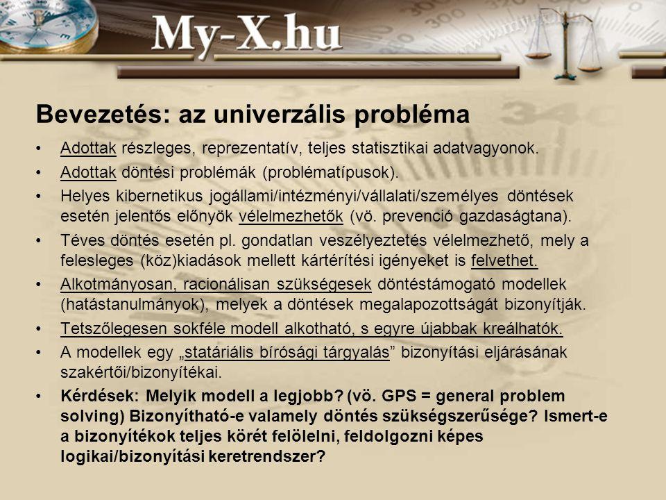 INNOCSEKK 156/2006 Bevezetés: az univerzális probléma Adottak részleges, reprezentatív, teljes statisztikai adatvagyonok.