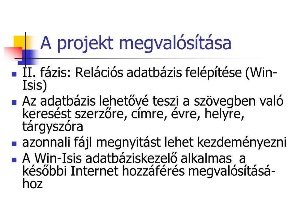 A projekt megvalósítása II.