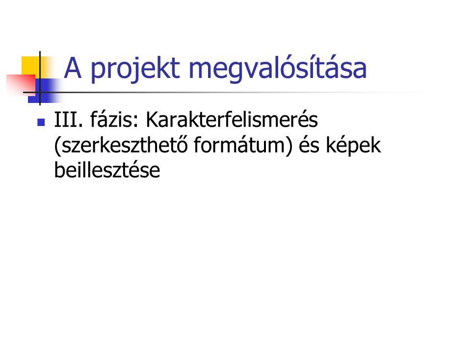 A projekt megvalósítása III.
