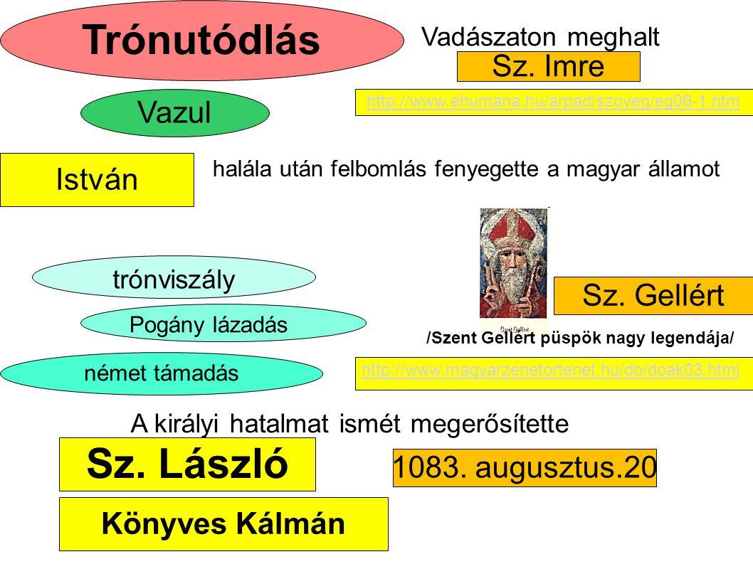 Sz.László Vazul Könyves Kálmán halála után felbomlás fenyegette a magyar államot német támadás Sz.