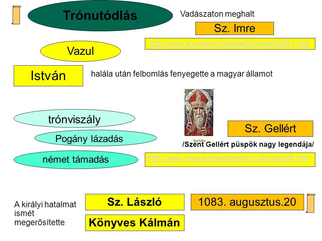 Sz. László Vazul Könyves Kálmán halála után felbomlás fenyegette a magyar államot német támadás Sz. Imre Sz. Gellért trónviszály Trónutódlás Vadászato