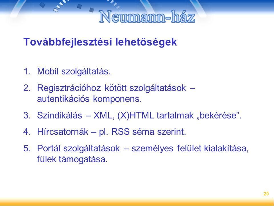 20 Továbbfejlesztési lehetőségek 1.Mobil szolgáltatás. 2.Regisztrációhoz kötött szolgáltatások – autentikációs komponens. 3.Szindikálás – XML, (X)HTML