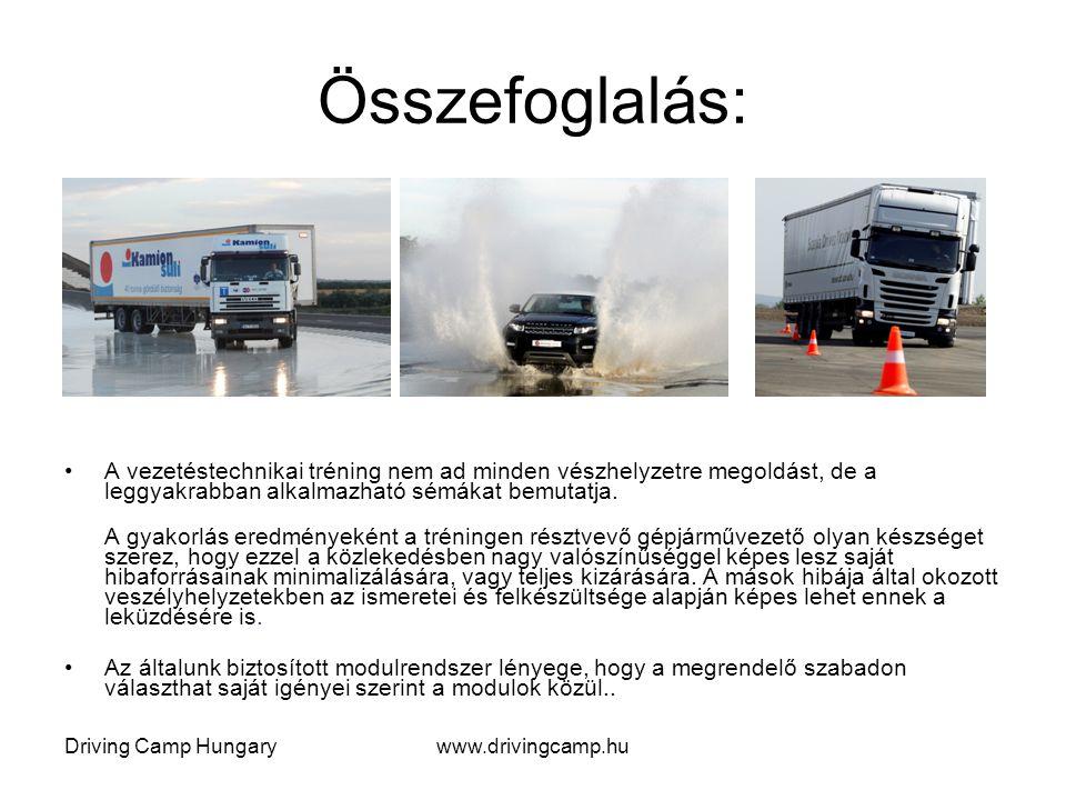 Összefoglalás: A vezetéstechnikai tréning nem ad minden vészhelyzetre megoldást, de a leggyakrabban alkalmazható sémákat bemutatja. A gyakorlás eredmé