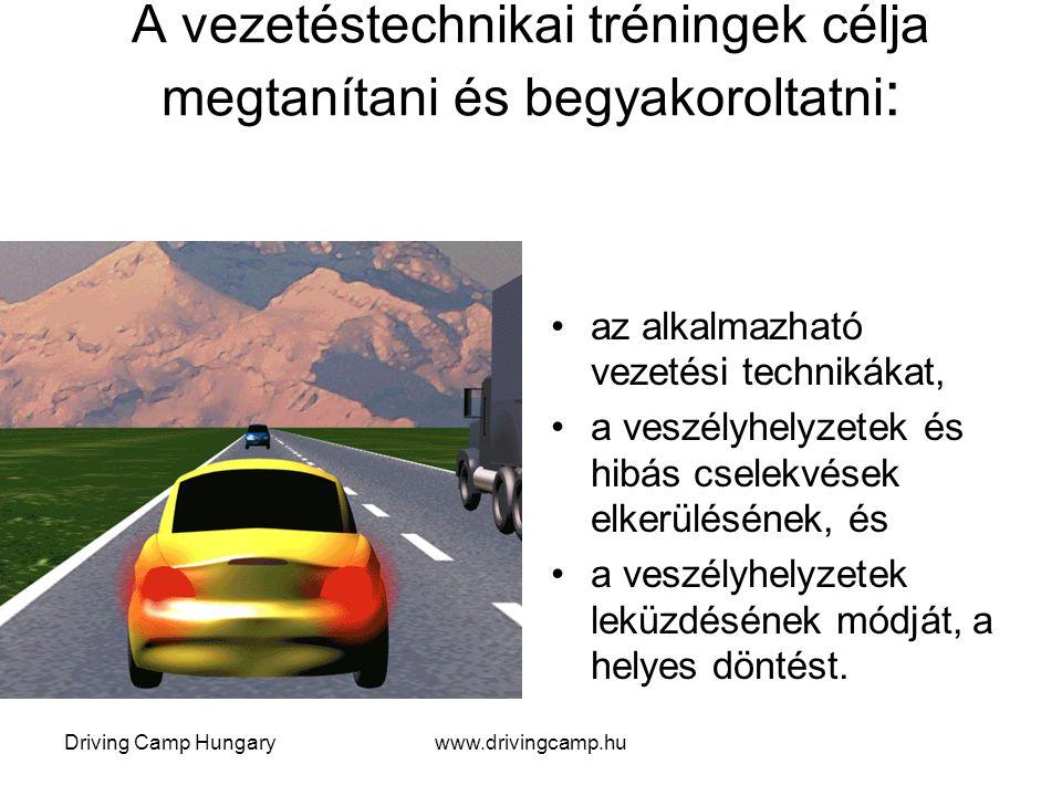 Driving Camp Hungarywww.drivingcamp.hu A vezetéstechnikai tréningek célja megtanítani és begyakoroltatni : az alkalmazható vezetési technikákat, a veszélyhelyzetek és hibás cselekvések elkerülésének, és a veszélyhelyzetek leküzdésének módját, a helyes döntést.