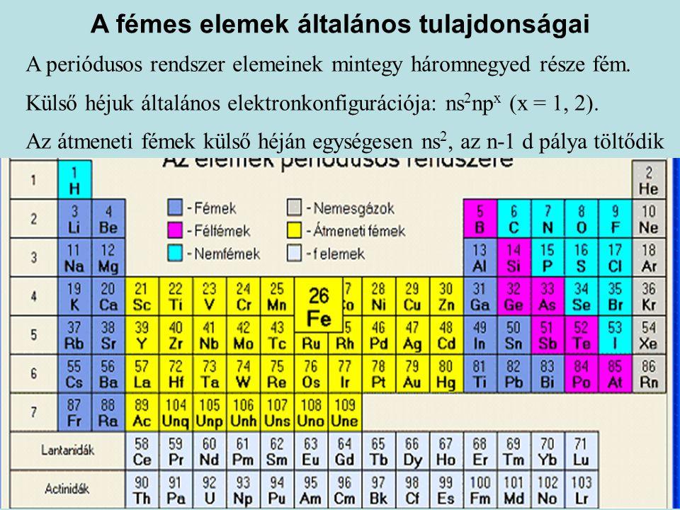 A fémes elemek általános tulajdonságai A periódusos rendszer elemeinek mintegy háromnegyed része fém. Külső héjuk általános elektronkonfigurációja: ns