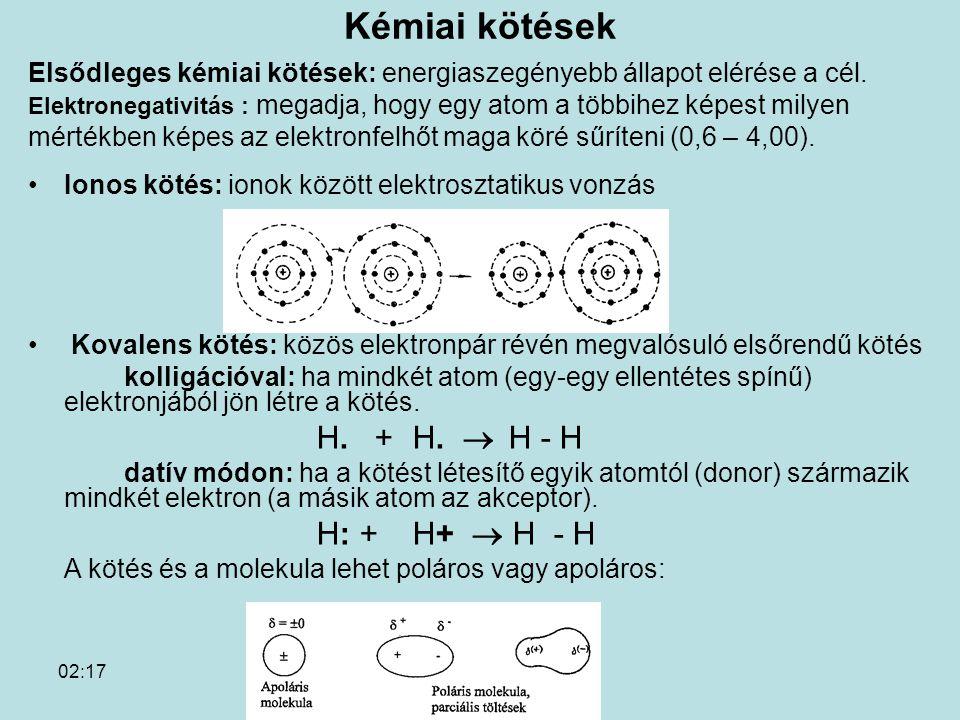 02:19 Kémiai kötések Elsődleges kémiai kötések: energiaszegényebb állapot elérése a cél. Elektronegativitás : megadja, hogy egy atom a többihez képest