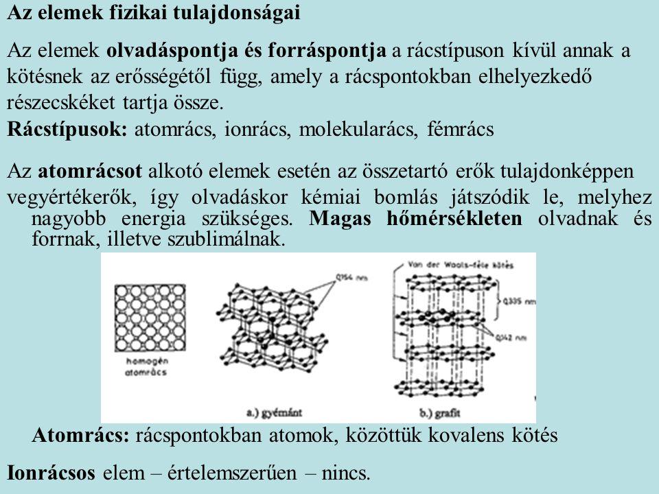 Az elemek fizikai tulajdonságai Az elemek olvadáspontja és forráspontja a rácstípuson kívül annak a kötésnek az erősségétől függ, amely a rácspontokba