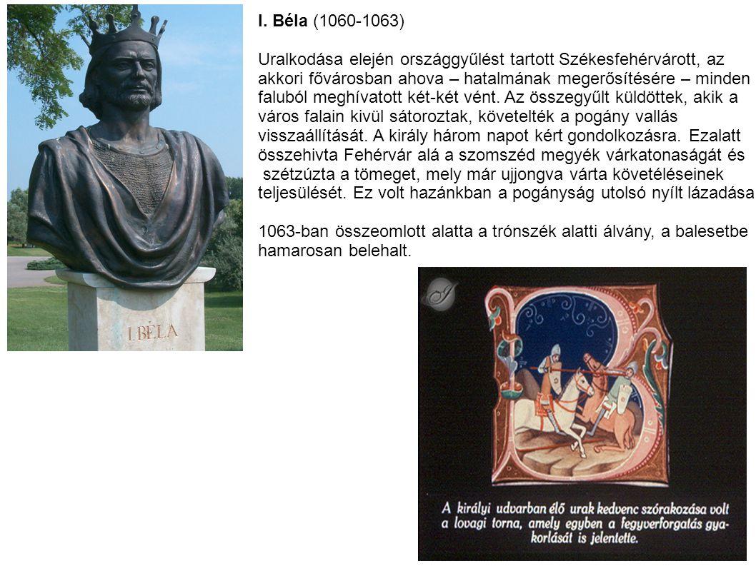 I. Béla (1060-1063) Uralkodása elején országgyűlést tartott Székesfehérvárott, az akkori fővárosban ahova – hatalmának megerősítésére – minden faluból