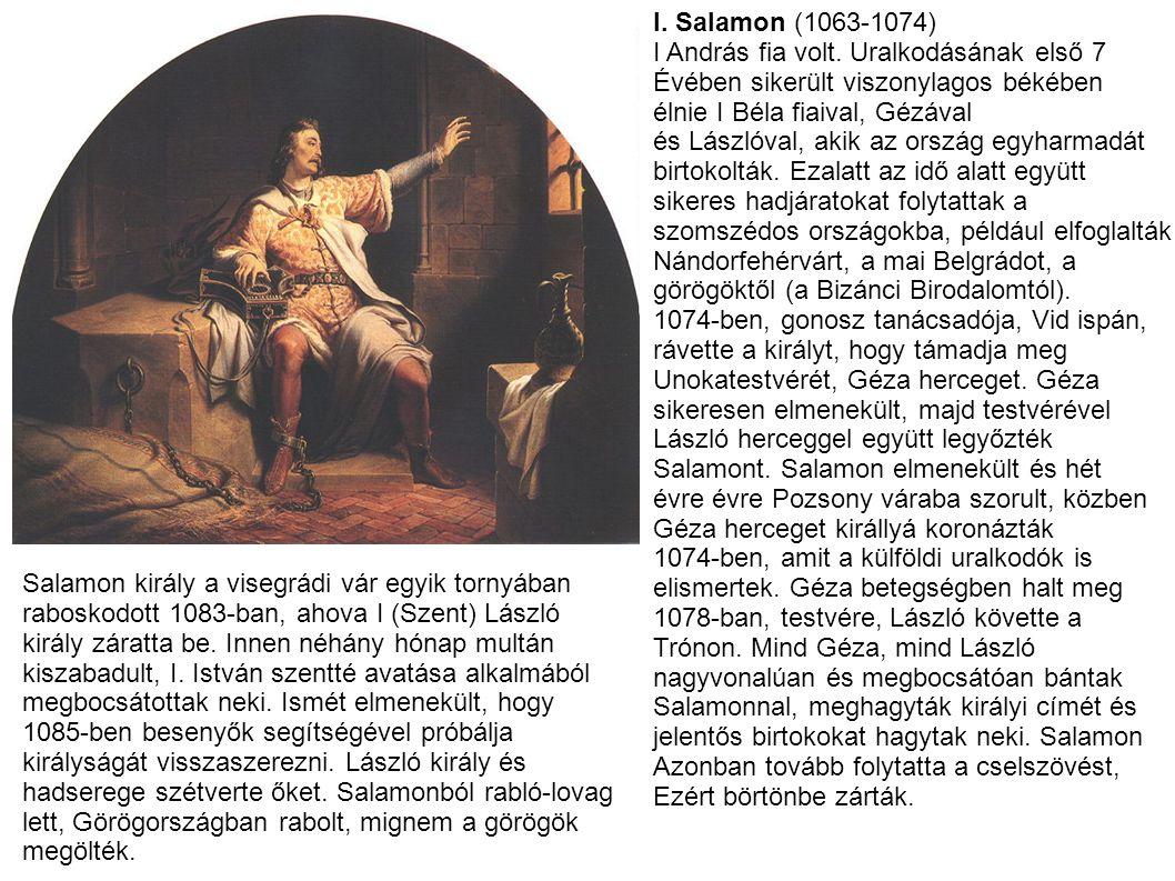 I. Salamon (1063-1074) I András fia volt. Uralkodásának első 7 Évében sikerült viszonylagos békében élnie I Béla fiaival, Gézával és Lászlóval, akik a