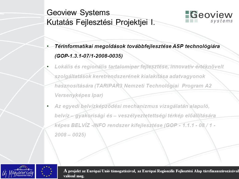 Geoview Systems Kutatás Fejlesztési Projektjei I.