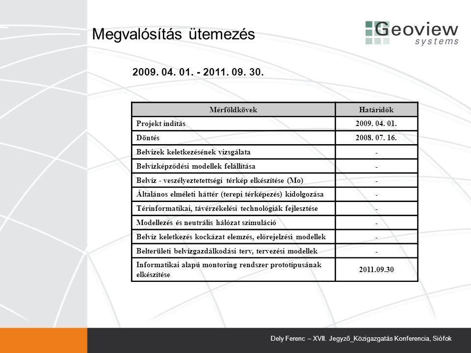 Megvalósítás ütemezés MérföldkövekHatáridők Projekt indítás2009.