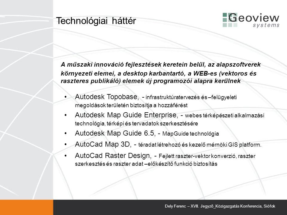 A műszaki innováció fejlesztések keretein belül, az alapszoftverek környezeti elemei, a desktop karbantartó, a WEB-es (vektoros és raszteres publikáló) elemek új programozói alapra kerülnek Autodesk Topobase, - infrastruktúratervezés és –felügyeleti megoldások területén biztosítja a hozzáférést Autodesk Map Guide Enterprise, - webes térképészeti alkalmazási technológia, térképi és tervadatok szerkesztésére Autodesk Map Guide 6.5, - MapGuide technológia AutoCad Map 3D, - téradat létrehozó és kezelő mérnöki GIS platform.
