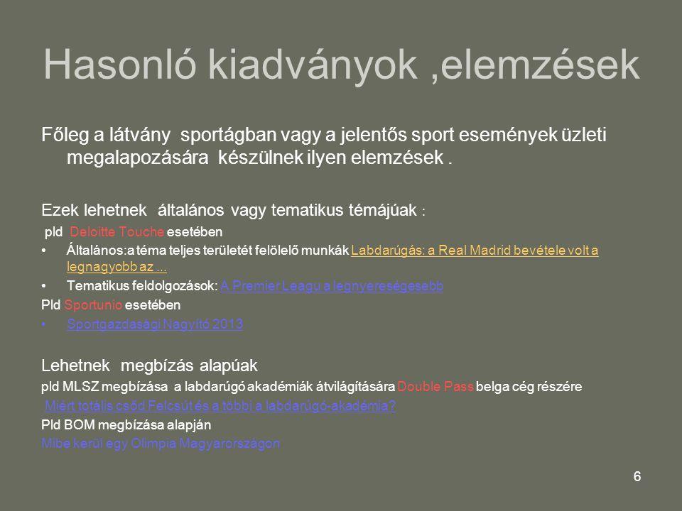 47Sportgazdasági Nagyító 201347 Sportágfejlesztés 1 2013 Az alábbi összegű központi-nem piaci - források szolgálták a labdarugó sportág fejlesztését,fenntartását : Központi költségvetés TAO 16.643 m Ft Önkormányzati támogatás