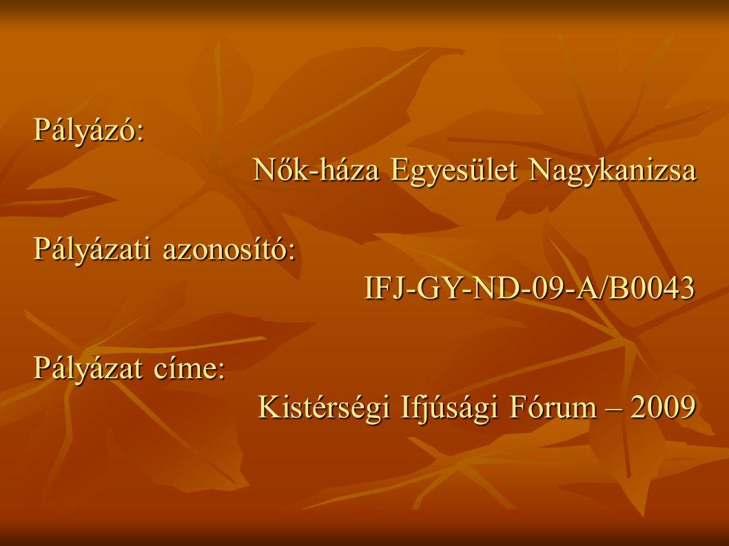 Pályázó: Nők-háza Egyesület Nagykanizsa Pályázati azonosító: IFJ-GY-ND-09-A/B0043 Pályázat címe: Kistérségi Ifjúsági Fórum – 2009