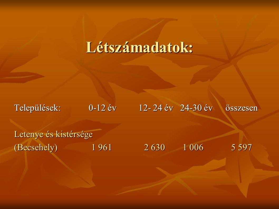 Létszámadatok: Települések:0-12 év12- 24 év 24-30 év összesen Letenye és kistérsége (Becsehely) 1 961 2 630 1 006 5 597