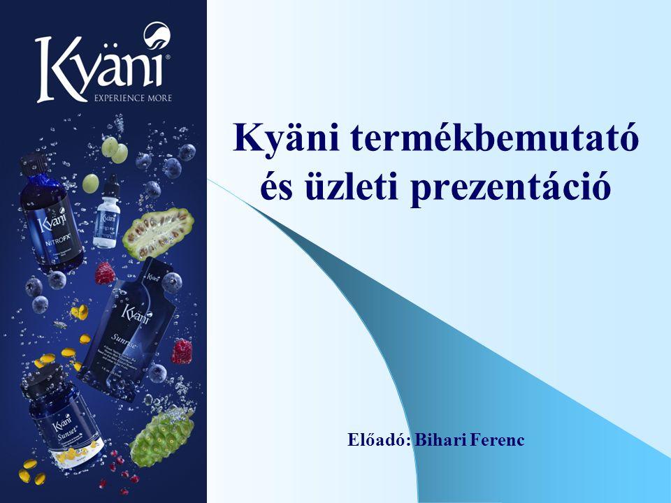 Kyäni termékbemutató és üzleti prezentáció Előadó: Bihari Ferenc
