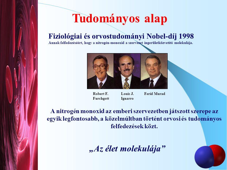 Fiziológiai és orvostudományi Nobel-díj 1998 Annak felfedezéséért, hogy a nitrogén-monoxid a szervezet ingerületközvetítő molekulája. A nitrogén monox