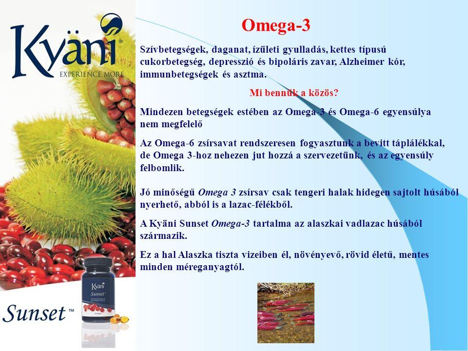 Omega-3 Jó minőségű Omega 3 zsírsav csak tengeri halak hidegen sajtolt húsából nyerhető, abból is a lazac-félékből. A Kyäni Sunset Omega-3 tartalma az
